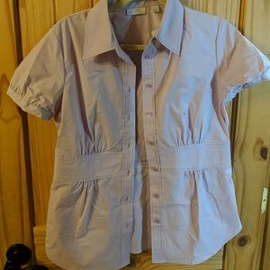 New York and Co lavender button blouse